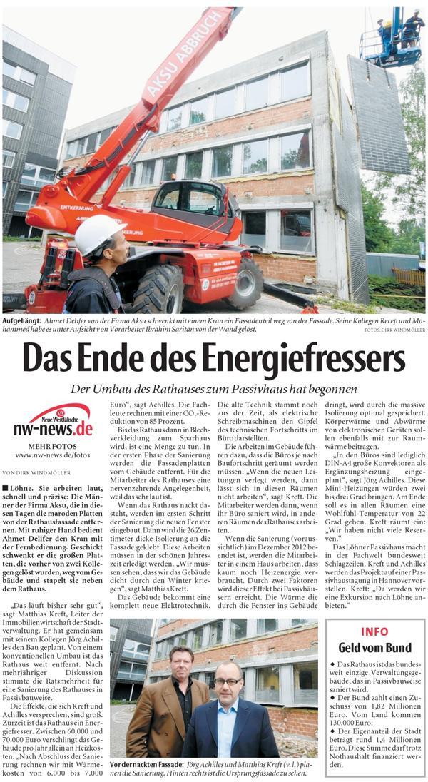 Das Ende der Energiefressers Neue Westfälische am 14.06.2011